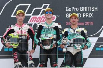 Podium: race winnaar Marcos Ramirez, Leopard Racing, tweede Tony Arbolino, Team O, derde Lorenzo Dalla Porta, Leopard Racing