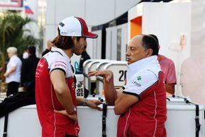 Antonio Giovinazzi, Alfa Romeo Racing, talks with Frederic Vasseur, Team Principal, Alfa Romeo Racing, in the paddock
