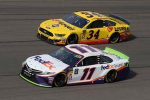Denny Hamlin, Joe Gibbs Racing, Toyota Camry FedEx Ground, Michael McDowell, Front Row Motorsports, Ford Mustang Love's Travel Stops