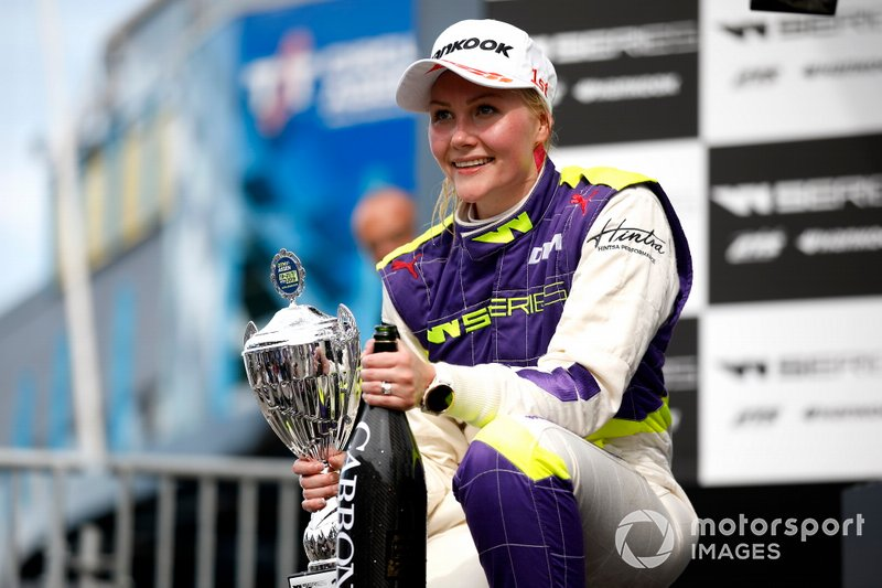 Podium: Race winner Emma Kimilainen