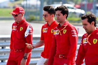 Charles Leclerc, Ferrari walks the track with his mechanics