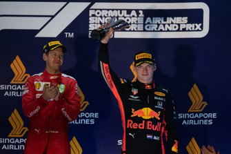 Max Verstappen, Red Bull Racing, 3rd position, on the podium with his trophy