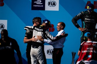 Race winner Sébastien Buemi, Nissan e.Dams celebrates with Michael Carcamo, Nissan e.Dams on the podium