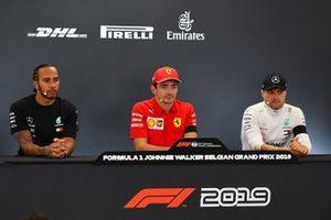 Press conference: race winner Charles Leclerc, Ferrari, second place Lewis Hamilton, Mercedes AMG F1, third place Valtteri Bottas, Mercedes AMG F1