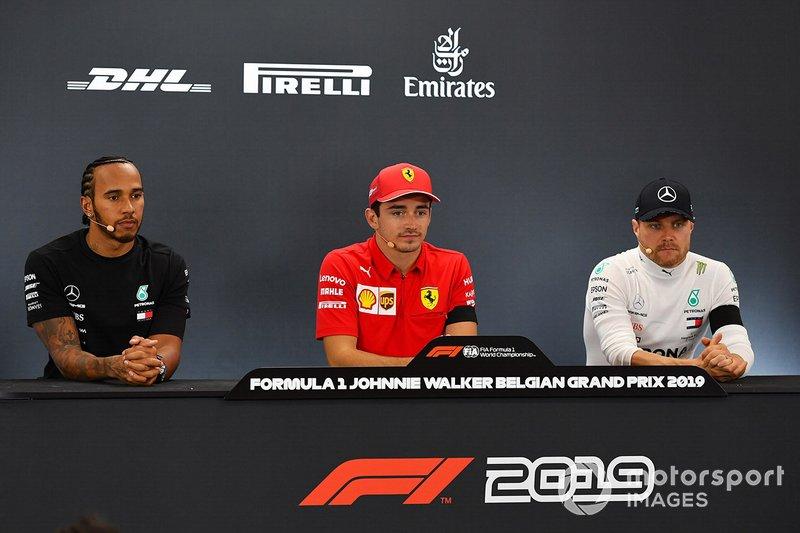 Conferenza stampa: il vincitore della gara Charles Leclerc, Ferrari, secondo classificato Lewis Hamilton, Mercedes AMG F1, terzo classificato Valtteri Bottas, Mercedes AMG F1