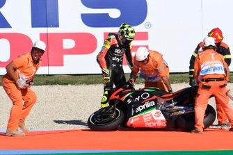 La chute d'Andrea Iannone, Aprilia Racing Team Gresini