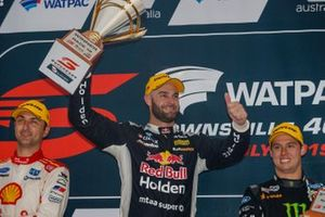 Race winner Shane van Gisbergen, Triple Eight Race Engineering Holden, second place Fabian Coulthard, DJR Team Penske, third place Cameron Waters, Tickford Racing Ford