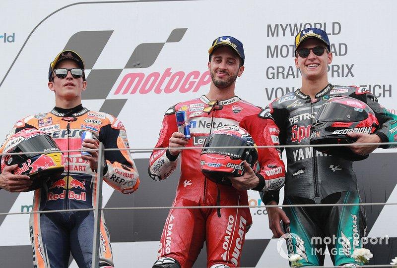 Podio: ganador de la carrera Andrea Dovizioso, Ducati Team segundo lugar Marc Márquez, Repsol Honda y el tercer lugar Fabio Quartararo, Petronas Yamaha SRT