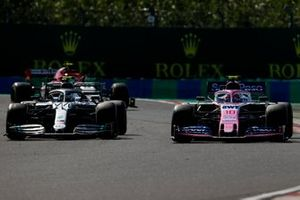 Valtteri Bottas, Mercedes AMG W10, battles with Lance Stroll, Racing Point RP19