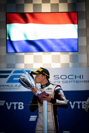 Nyck De Vries, ART Grand Prix celebrates on the podium after winning the championship