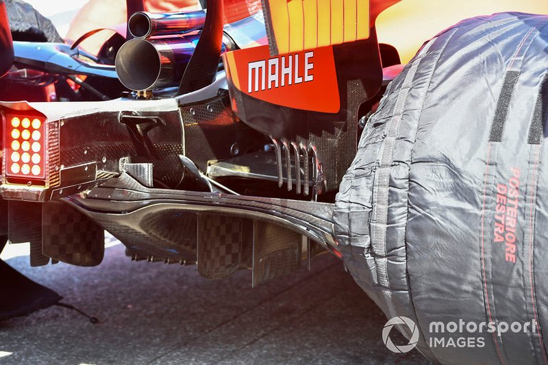 Right light, exhaust and diffuser on the Red Bull Racing RB15