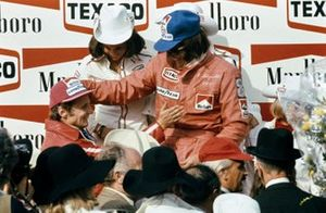 1. Emerson Fittipaldi, McLaren, 2. Niki Lauda, Ferrari