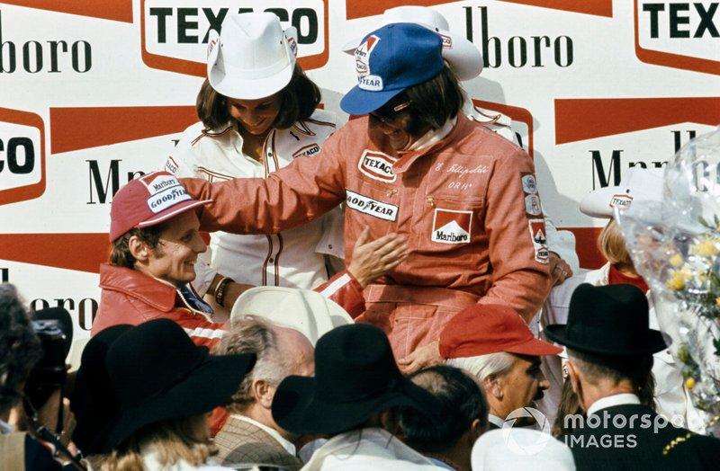 Emerson Fittipaldi, McLaren, Niki Lauda, Ferrari, al GP del Belgio del 1974