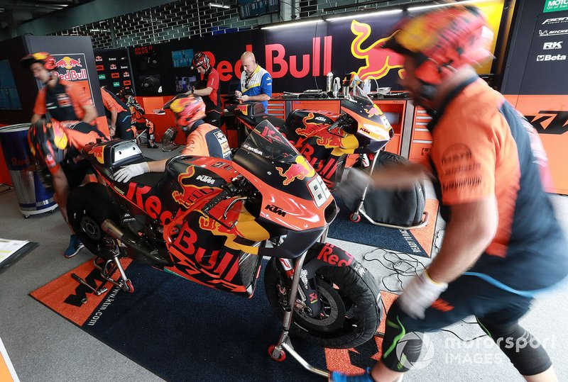 Red Bull KTM Factory Racing mechanics at work