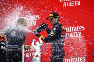 Max Verstappen, Red Bull Racing, 1st position, sprays the victory Champagne