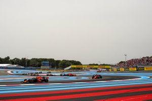 Sergio Perez, Red Bull Racing RB16B, Charles Leclerc, Ferrari SF21, and Pierre Gasly, AlphaTauri AT02