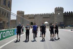Esteban Ocon, Alpine A521, and team members track walk