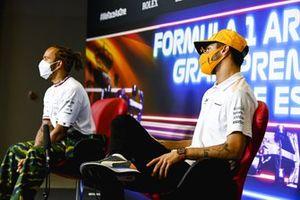 Daniel Ricciardo, McLaren, Lewis Hamilton, Mercedes en la conferencia de prensa