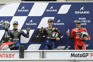 Polesitter Fabio Quartararo, Yamaha Factory Racing, second place Maverick Vinales, Yamaha Factory Racing, third place Jack Miller, Ducati Team