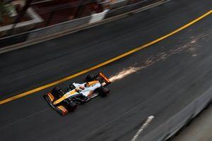 Sparks trail from Daniel Ricciardo, McLaren MCL35M