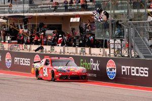 Kyle Busch, Joe Gibbs Racing, Toyota Supra Skittles Gummies takes the checker flag