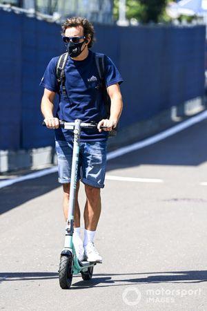 Fernando Alonso, Alpine F1 on a scooter