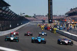 Stefan Wilson, Andretti Autosport Honda, Max Chilton, Carlin Chevrolet, Dalton Kellett, A.J. Foyt Enterprises Chevrolet