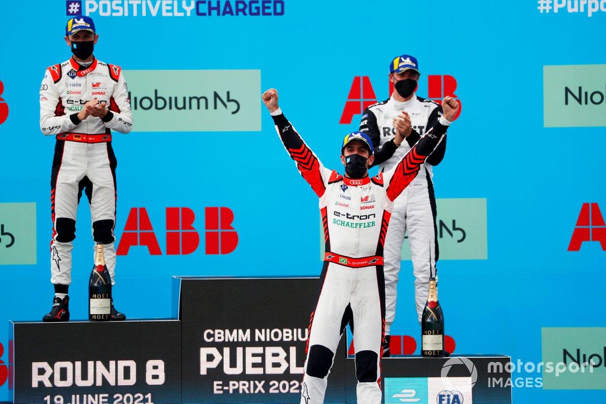 Podio: segundo lugar René Rast, Audi Sport ABT Schaeffler, ganador Lucas Di Grassi, Audi Sport ABT Schaeffler, tercer lugar Edoardo Mortara, Venturi Racing