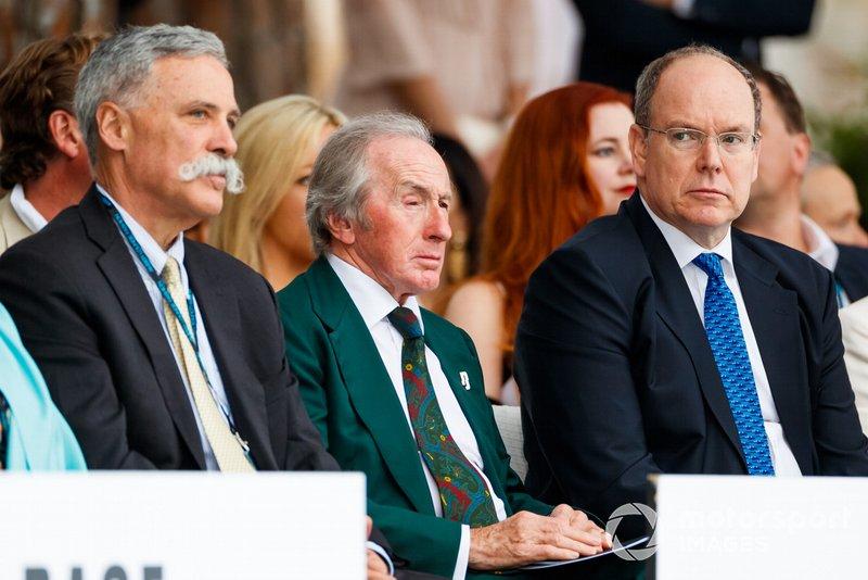 Chase Carey, Chairman, Formula 1, Three times world champion Sir Jackie Stewart and Prince Albert II at the Amber Lounge fashion show