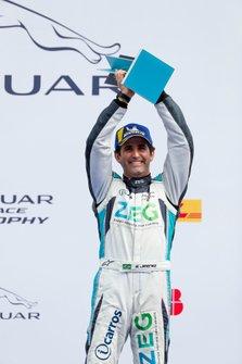 Sérgio Jimenez, Jaguar Brazil Racing, 2nd position, celebrates on the podium