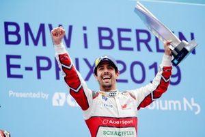Lucas Di Grassi, Audi Sport ABT Schaeffler, celebrates on the podium with his trophy