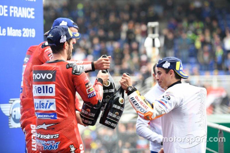 Podio: ganador Marc Márquez, Repsol Honda Team, segundo lugar Andrea Dovizioso, Ducati Team, tercer lugar Danilo Petrucci, Ducati Team