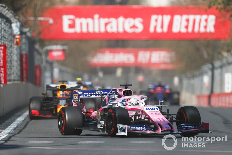 Sergio Perez, Racing Point RP19, Max Verstappen, Red Bull Racing RB15