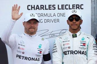 Front row starters, Valtteri Bottas, Mercedes AMG F1, and pole man Lewis Hamilton, Mercedes AMG F1