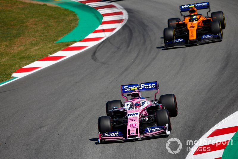 Lance Stroll, Racing Point RP19, precede Lando Norris, McLaren MCL34