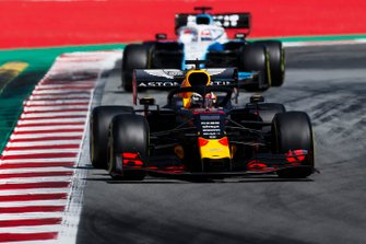 Max Verstappen, Red Bull Racing RB15, leads George Russell, Williams Racing FW42