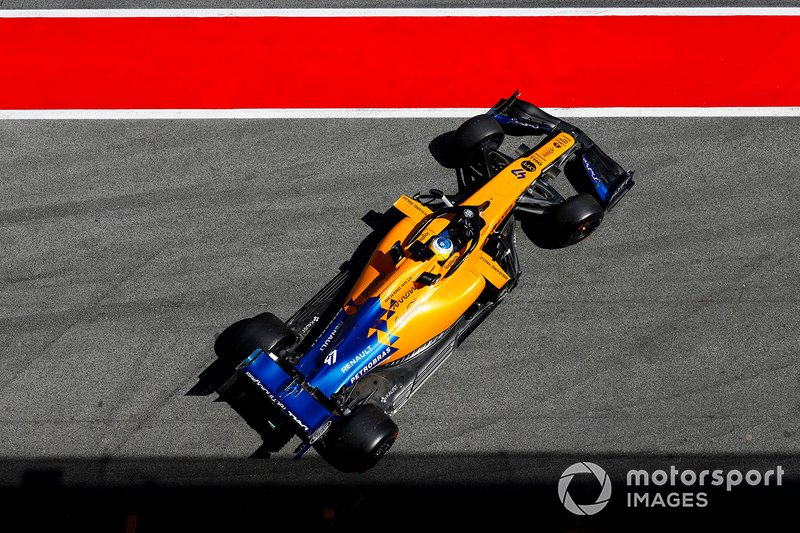 Sergio Sette Camara, McLaren MCL34 pulls out of the garage