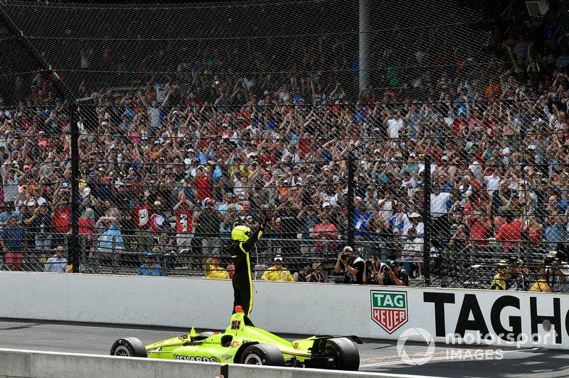 Simon Pagenaud, Team Penske Chevrolet fête sa victoire