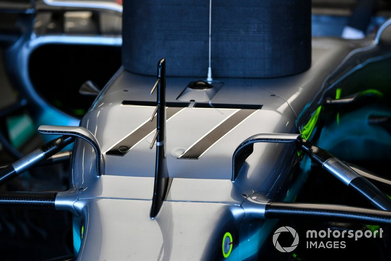 The nose of the Mercedes AMG F1 W10