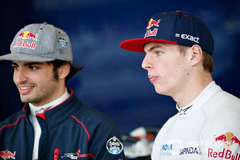 Max Verstappen, Toro Rosso, en Carlos Sainz Jr., Toro Rosso