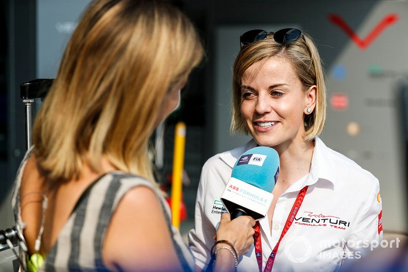 Susie Wolff, Team Principal, Venturi Formula E, talks to TV Presenter Nicki Shields
