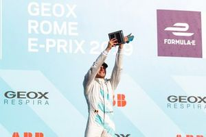 Stoffel Vandoorne, HWA Racelab, 3rd position, celebrates his maiden podium finish