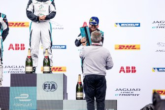 Célia Martin, Viessman Jaguar eTROPHY Team Germany, receives her trophy on the podium