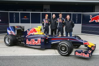 Sebastian Vettel, Red Bull racing and Mark Webber, Red Bull Racing with Adrian Newey, Red Bull Racing Chief Technical Director and Christian Horner, Red Bull Racing Sporting Director