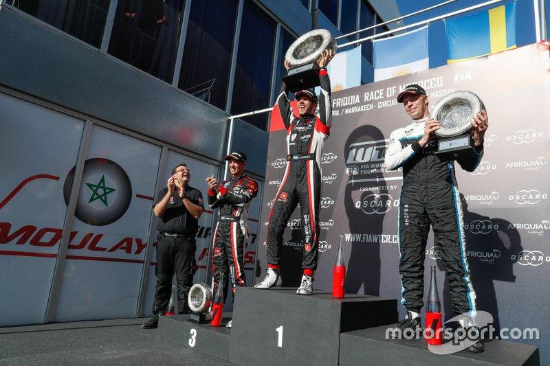 Podio: ganador Esteban Guerrieri, ALL-INKL.COM Münnich Motorsport Honda Civic Type R TCR, segundo Thed Björk, Cyan Racing Lynk & Co 03 TCR, tercero Néstor Girolami, ALL-INKL.COM Münnich Motorsport Honda Civic Type R TCR