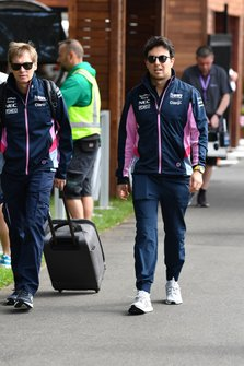 Sergio Perez, Racing Point, arrives at the circuit