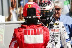 Michael Schumacher, Ferrari and Kimi Raikkonen, McLaren in Parc ferme