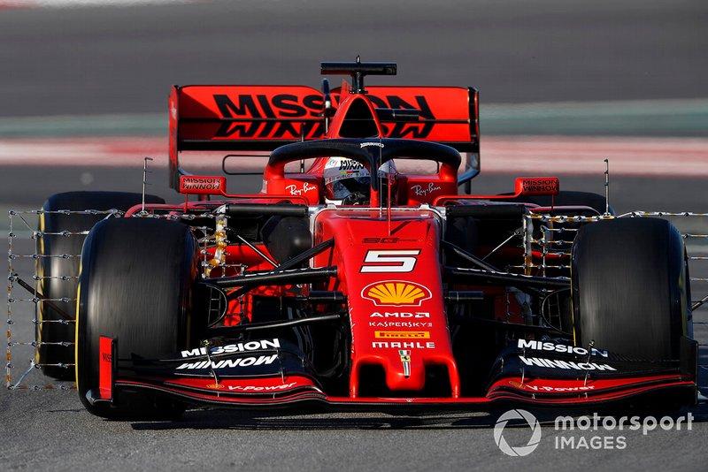Sebastian Vettel, Ferrari SF90, con sensori aerodinamici
