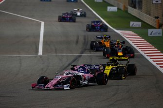 Sergio Perez, Racing Point RP19, leads Nico Hulkenberg, Renault R.S. 19, Pierre Gasly, Red Bull Racing RB15, and Lando Norris, McLaren MCL34