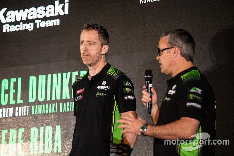Marcel Duinker, capotecnico di Leon Haslam, Kawasaki Racing Team, Pere Riba, capotecnico di Jonathan Rea, Kawasaki Racing Team
